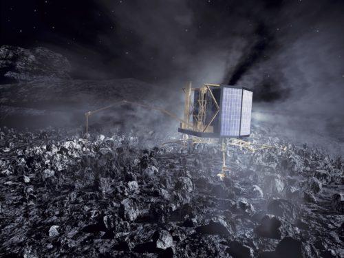 Philae_lander_on_comet_nucleus